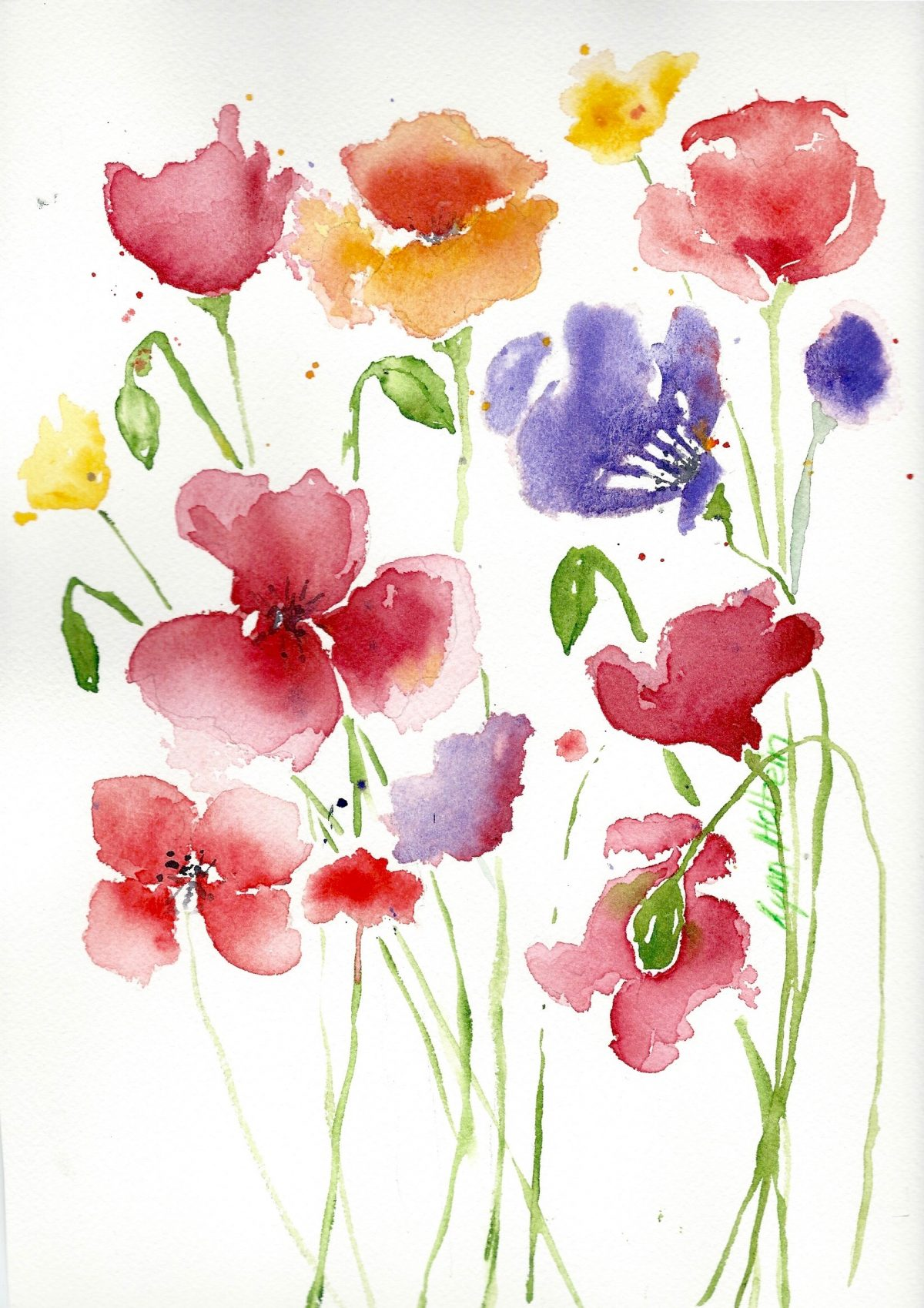 Watercolors by lynn holbein for Spring flowers watercolor