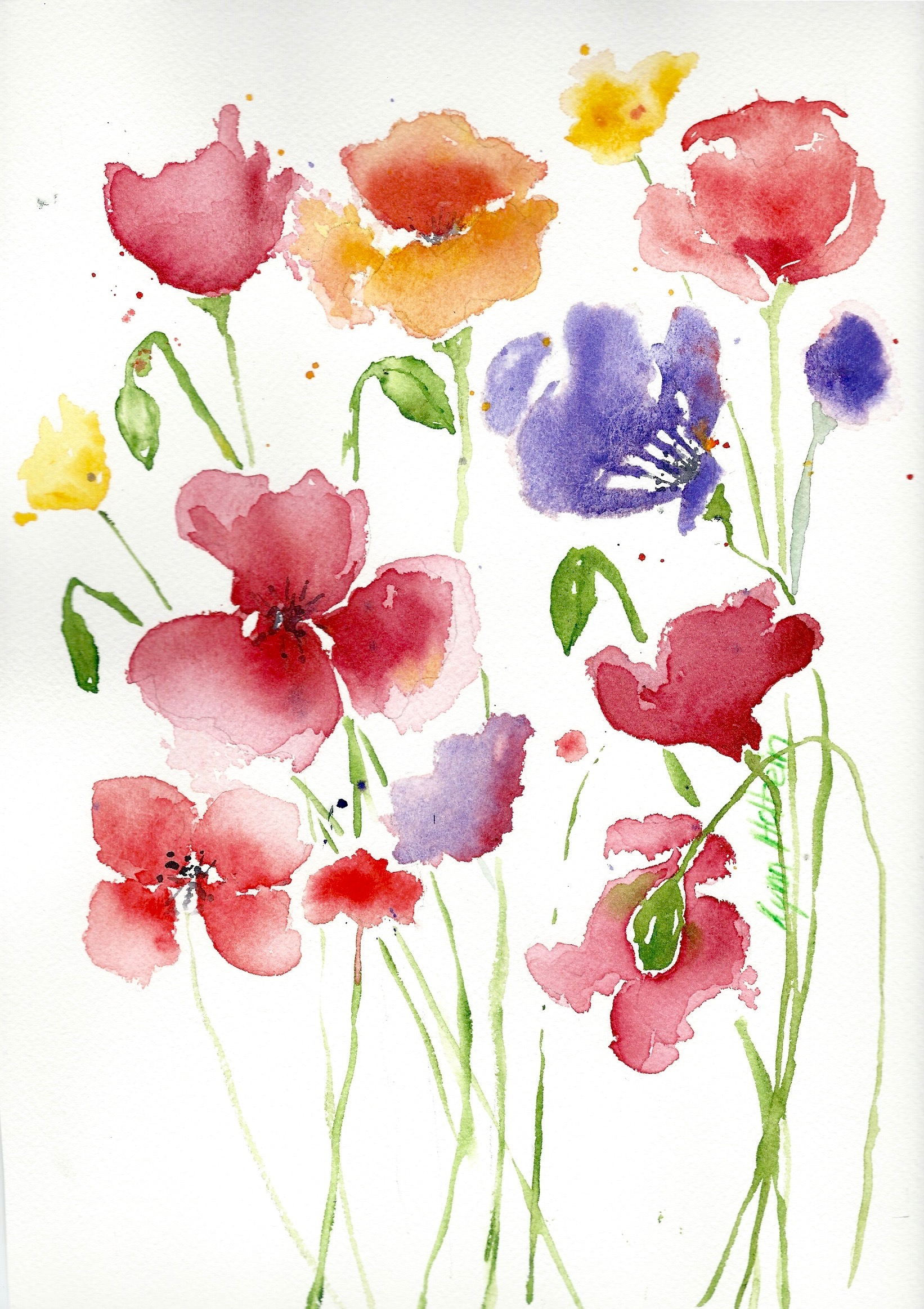 Spring flowers watercolors by lynn holbein while i work on a couple of sketches of san francisco which i will post next week here are a few poppies to remind us that spring is really actually mightylinksfo